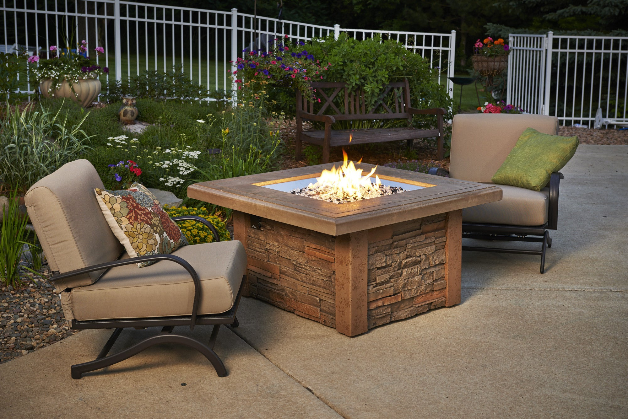 Outdoor greatroom sierra fire pit table with cf 2424 burner bbqing com
