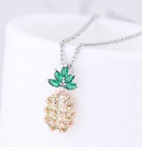 N11 Silver Rhodium Plated Crystal Pineapple Necklace