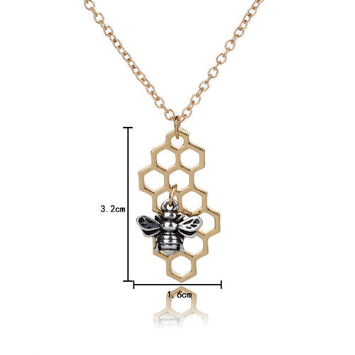 N1 Gold or Silver Plated Honeycomb Bee Pendant Necklace