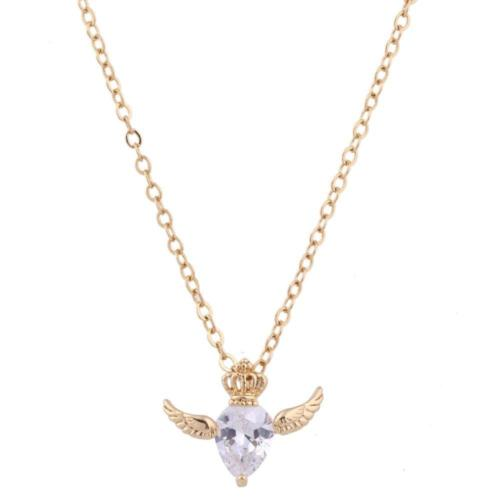 N11 18K Gold Plated Angel Wing and Crown Crystal Pendant Necklace
