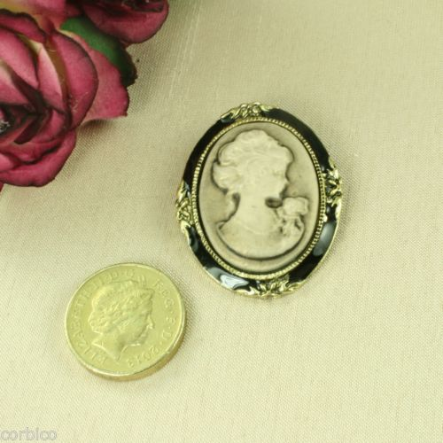 BR1 Bronze Tone Antique Look Cameo Pin Brooch
