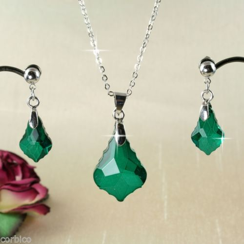 S3 Antique Baroque Style Green Crystal Necklace Earrings Set