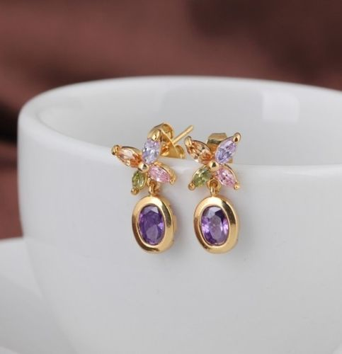 E14 18K Gold Plated Multi-Colour Zirconia Crystals Flower Dangle Stud Earrings