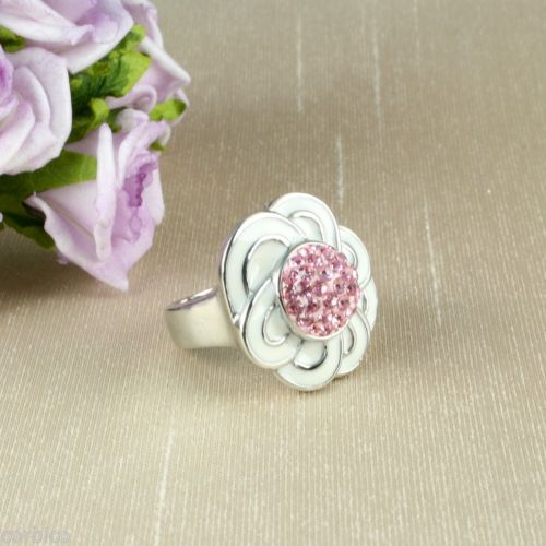 White Enamel and Pink Crystals Flower Cocktail Ring Size M - US 6