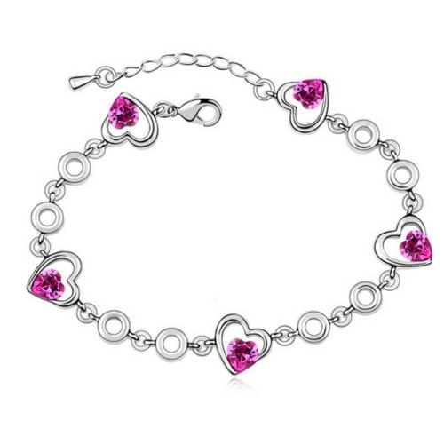 Rhodium Plated Crystal Hearts Bracelet in Gift Pouch
