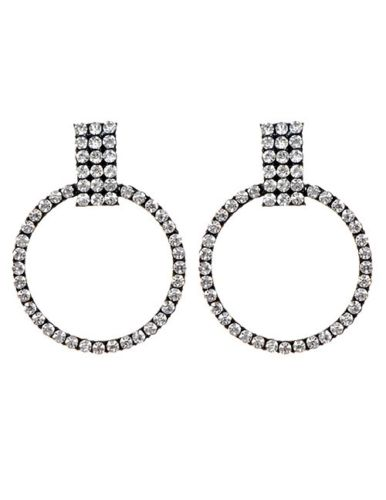 E13 Elenor Large Crystal Circle Hoop Sparkle Dangle Stud Earrings