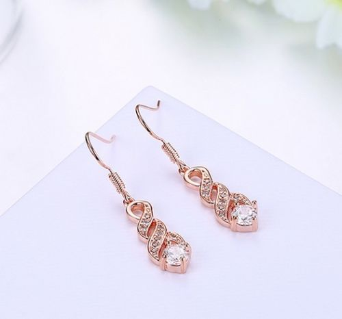 E1 Rose Gold Plated Twist Design Crystal Dangle Hook Earrings