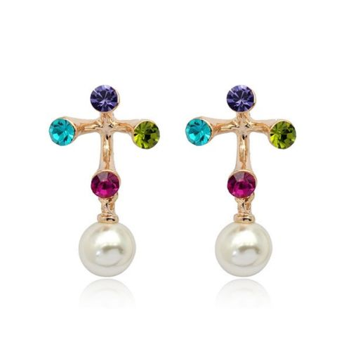 E5 Rose Gold Plated Multi-coloured Crystal Pearl Stud Earrings