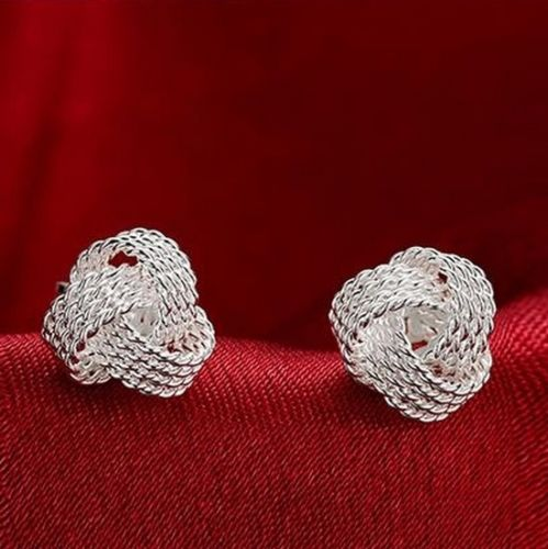 E12 925 Sterling Silver Plated Knot Stud Earrings