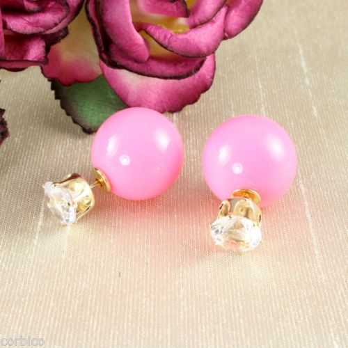 Two Part Reversible Pink Pearl and CZ Zirconia Crystal Plug Stud Earrings