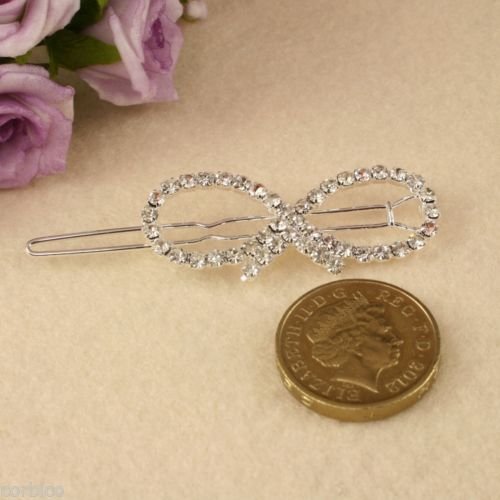 BR1 Wedding Party Bridesmaid Prom Rhinestone Crystal Infinity Hair Clip Grip