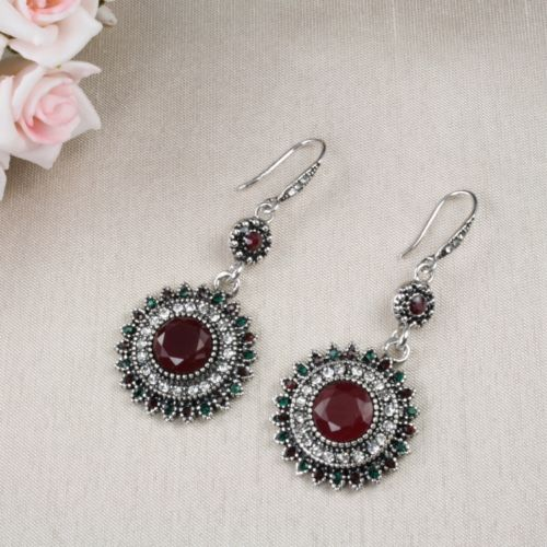 E15 Long Round Festival Boho Ethnic Dangle Hook Earrings in Dark Red