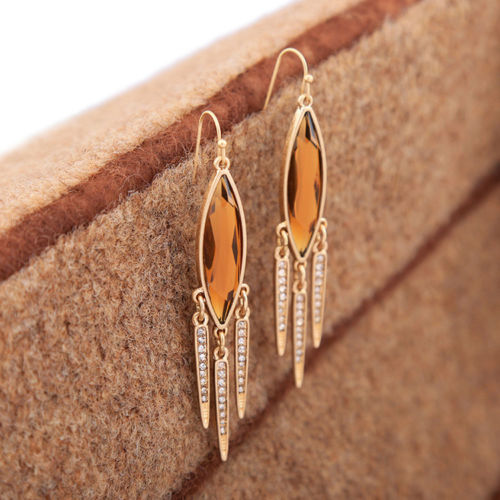 A1 Elegant Party Occasion Gold Tone Amber Crystal Dangle Hook Earrings