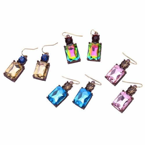 E24 Aurora Square Crystal Geometric Dangle Hook Earrings