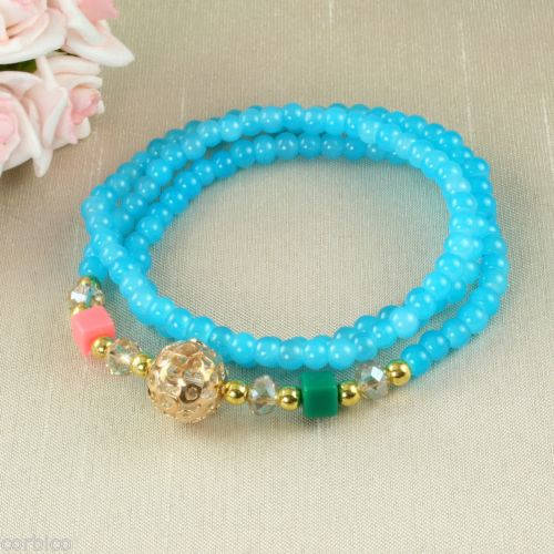 B4 Faux Crystal Prayer Meditation Charm Bead Wrap Bracelet in Light Blue