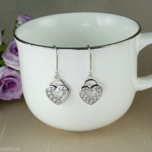 E2 Bridal Prom Silver Plated Heart Dangle Hook Earrings with Clear Crystals