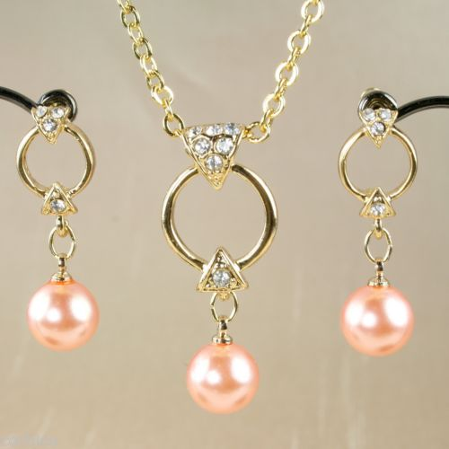 S3 Wedding Bridal Prom Pink Pearl Gold Plated Necklace Earrings Set + Crystals