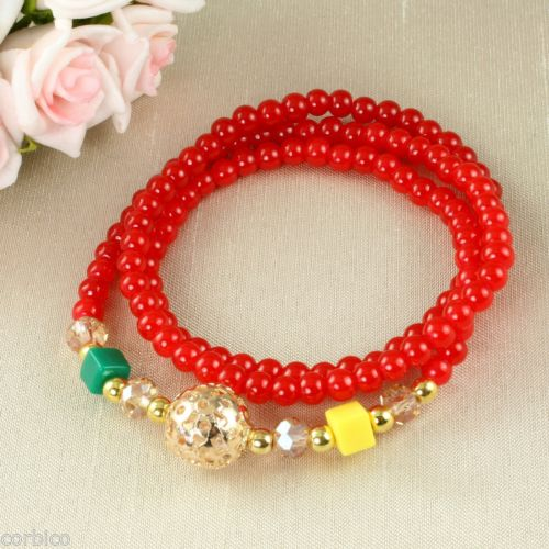 B4 Faux Crystal Prayer Meditation Charm Bead Wrap Bracelet in Red