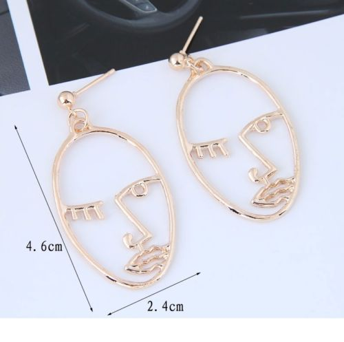 E6 Abstract Art Design Style Gold Plated Face Dangle Stud Earrings