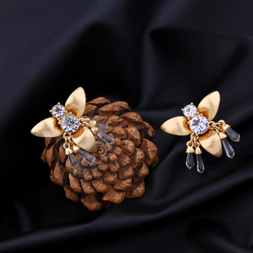 E27 Large Gold Coloured Dangle Crystal Insect Bumble Bee Stud Earrings