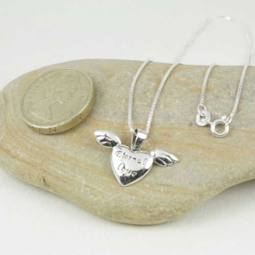 925 Sterling Silver Eternal Love Heart Wings Pendant Necklace