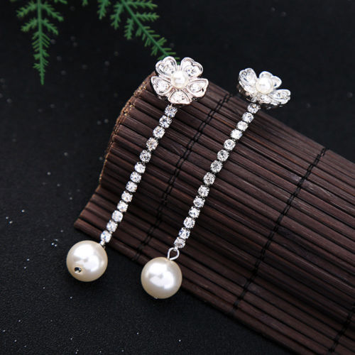 E5 Two Piece Long Crystals and Pearl Flower Stud Earrings