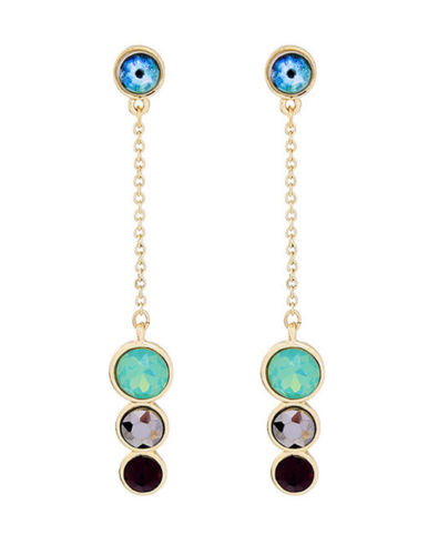 E12 Long Chain Party Round Coloured Crystal Stones Dangle Earrings