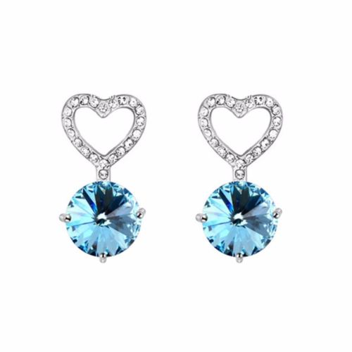 E1 Bridal Wedding Heart Round Crystal Dangle Stud Earrings