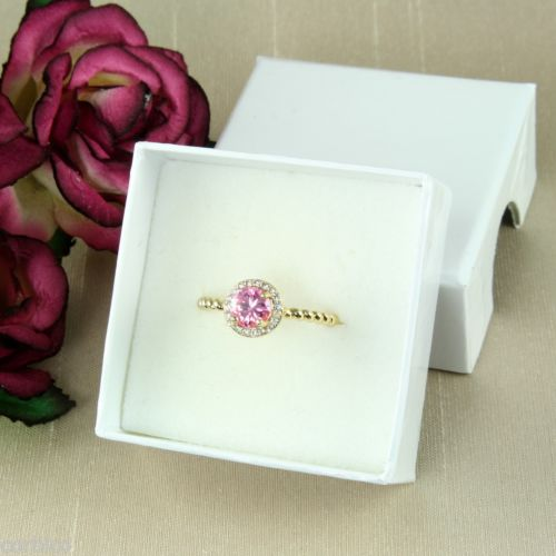18K Gold Plated Ring with Pink Cubic Zirconia Crystals