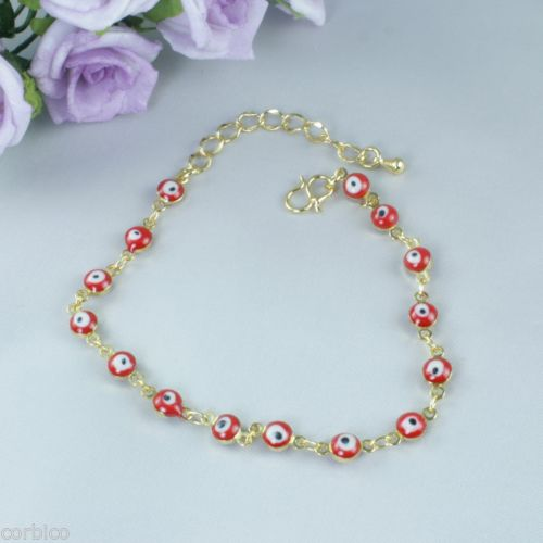 B2 Small Gold Plated Red Enamel Evil Eye Lucky Protector Bracelet