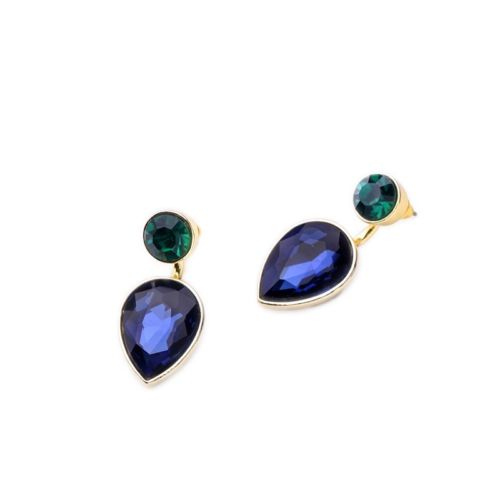 E24 Detachable Two Piece Blue Drop and Green Glass Stud Earrings