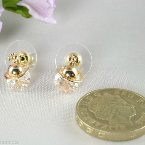 E12 Gold Plated Stud Earrings made with Swarovski Crystals - 2 colours