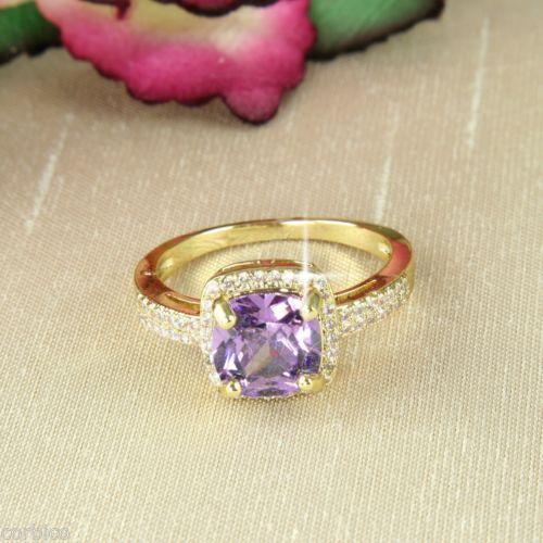 18K Gold Plated Cocktail Ring with Purple Cubic Zirconia Crystals