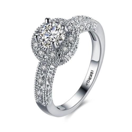 18K White Gold Plated Amalia Dress Ring with Cubic Zirconia Crystals