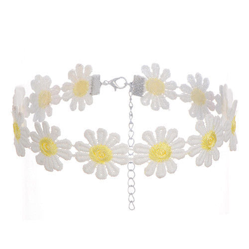Adjustable Cotton Daisy Choker Necklaces - UK Seller
