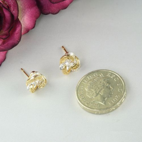 E2 18K Gold Plated Knot Design Crystal Stud Earrings