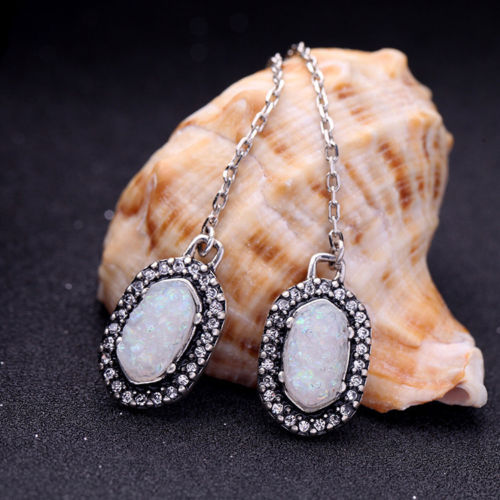 A1 Antique Silver Style Long Chain Opalesque Stone Dangle Hook Earrings