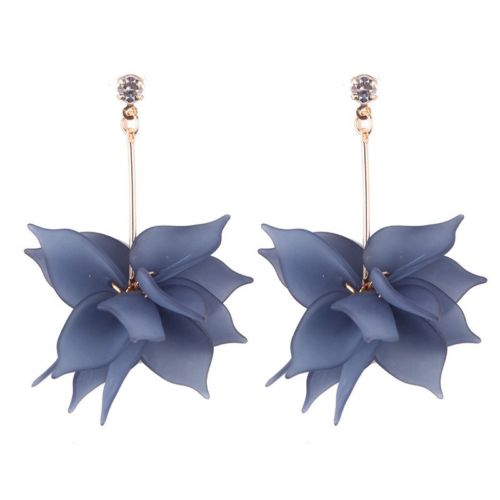 E7 Long Blue Acrylic Flower Party Dangle Earrings
