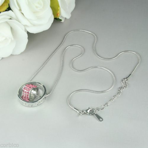 N6 Pink Crystals Love Hearts Ring Pendant Necklace Gift for Mum / Wife