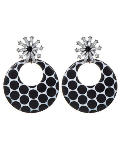 E16 Very Large Round Acrylic and Crystal Dangle Stud Party Earrings