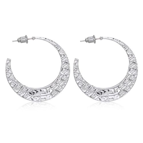 E11 Silver Plated Crescent Hoop Dangle Stud Earrings in Gift Pouch