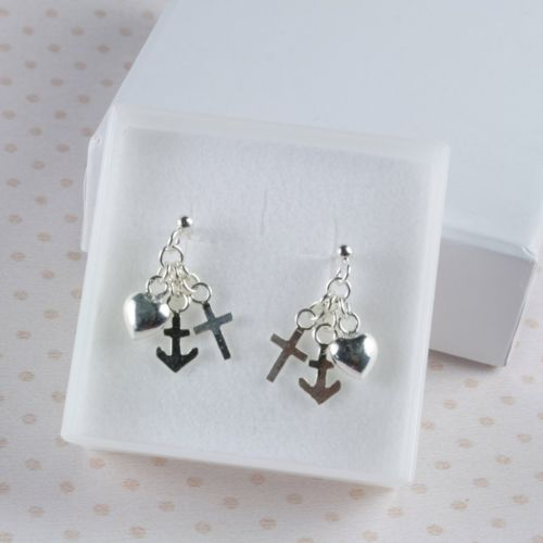Handmade 925 Sterling Silver Heart Anchor Cross Dangle Stud Earrings
