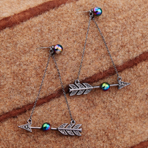 E23 Gunmetal Grey Chain and Arrow Dangle Drop Stud Earrings