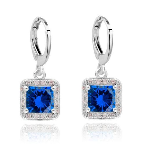 Denise Square Crystal Classic Style Huggie Dangle Earrings