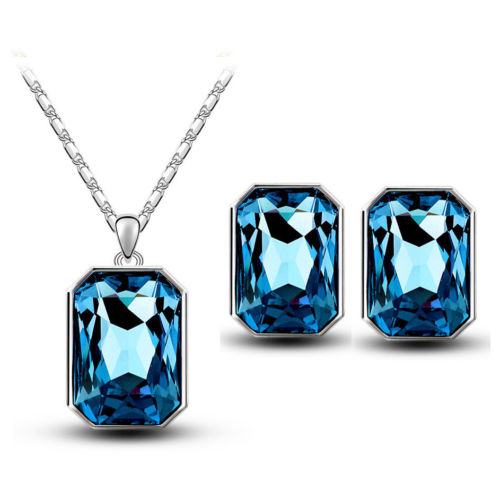 S3 Silver Plated Crystal Necklace and Earrings Jewellery Set