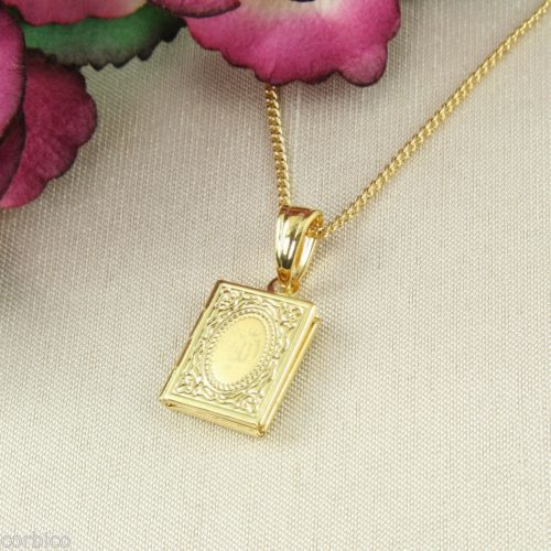 N1 Small 18K Gold Plated Allah Koran Locket Pendant Necklace
