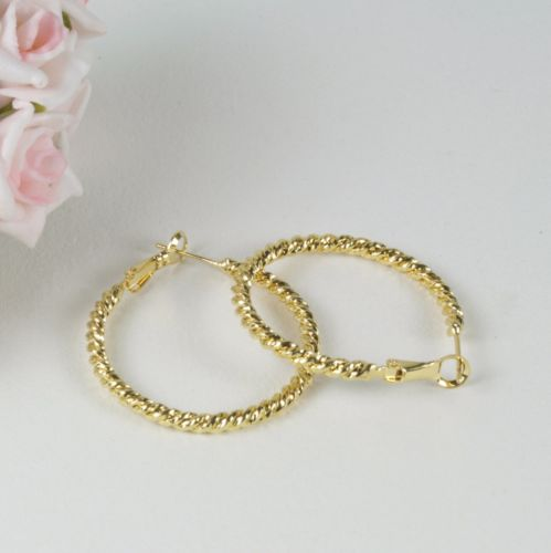 E17 18K Yellow Gold Filled 3.5 cm Rope Design Hoop Earrings - Gift Pouch