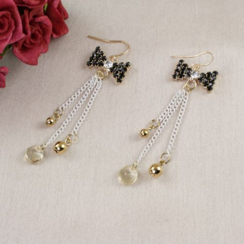 E14 Black and Gold Chain and Bow Hook Earrings