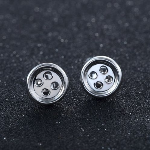 E1 Small Silver Plated Cute Button Stud Earrings