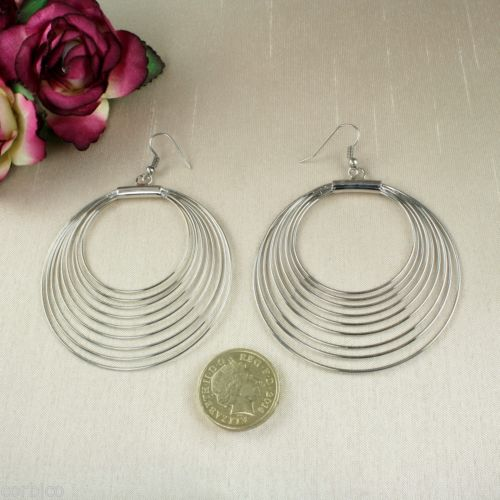 E11 Silver Rhodium Plated Spiral Hoops Dangle Hook Earrings